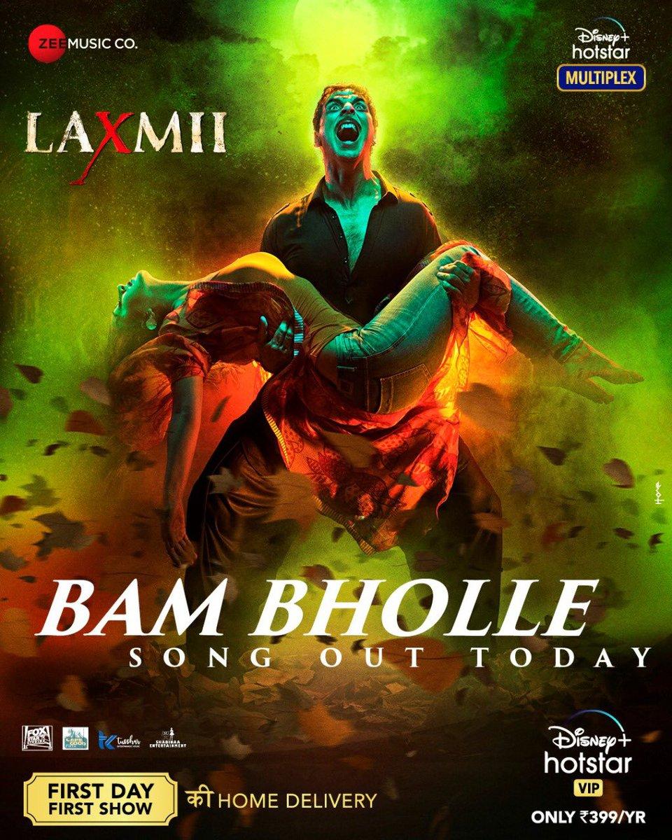 Get ready to witness the explosion today as Laxmii reveals her new avatar with the most awaited song #BamBholle! Launching soon! #FoxStarStudios #DisneyPlusHotstarMultiplex #YehDiwaliLaxmiiWali @akshaykumar @advani_kiara @Shabinaa_Ent @tusshkapoor @foxstarhindi @DisneyplusHSVIP