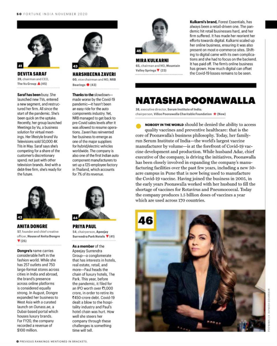 In esteemed company, this month — @FortuneIndia's 50 Most Powerful Women in Business. Thank you for highlighting the work we do at @SerumInstIndia and through our foundations.