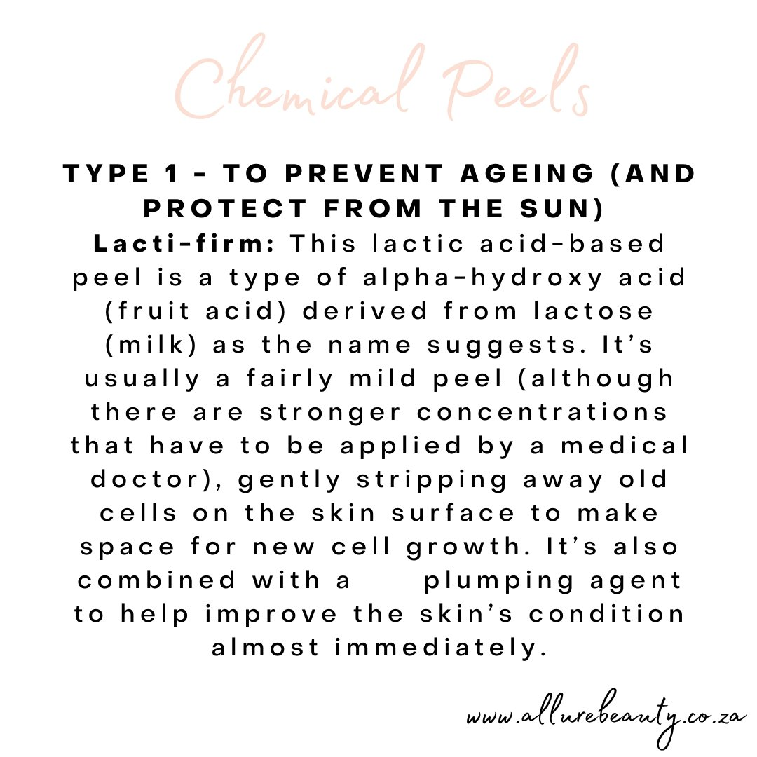 🌟 #LAMELLE #CHEMICALPEELS TYPE 1: . TO PREVENT AGEING (AND PROTECT FROM THE SUN) Lacti-firm . This lactic acid-based peel is a type of alpha-hydroxy acid (fruit acid) derived from lactose (milk) as the name suggests. It's usually a fairly mild peel #skincare #salon #benoni