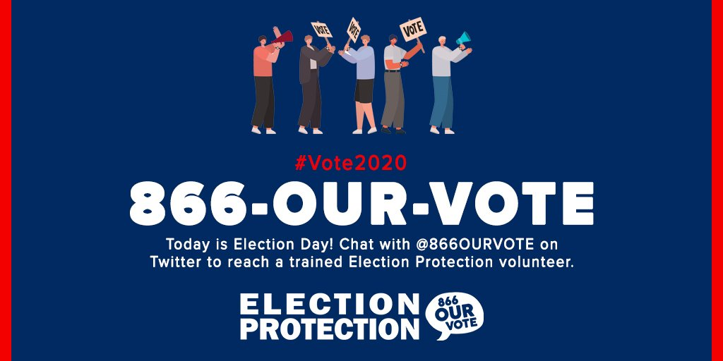 It's Election Day! Chat with @866OURVOTE on Twitter or Facebook to chat with a trained Election Protection volunteer. Click on this link to start a conversation with us:  #ProtectOurVote