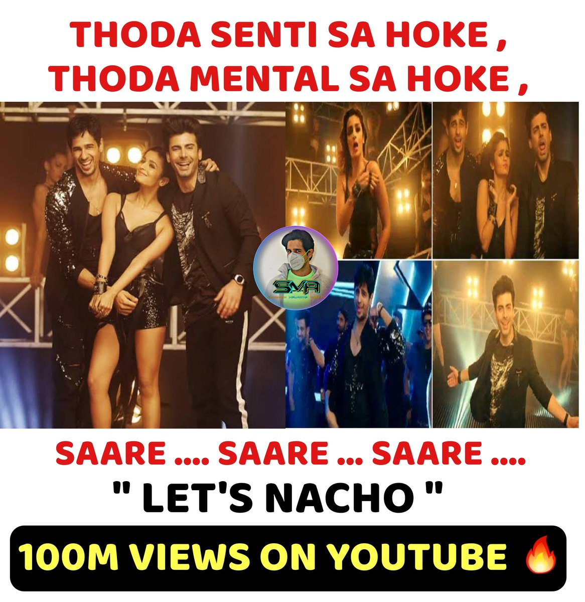 Thoda senti sa hoke, thoda mental sa hoke, saare #LetsNacho because it's 100M views on #Youtube!💃  #KapoorAndSons @karanjohar @apoorvamehta18 @sidmalhotra @aliaa08 #FawadKhan @shakunbatra @foxstarhindi @sonymusicindia @Its_Badshah @nucleya @benny_dayal