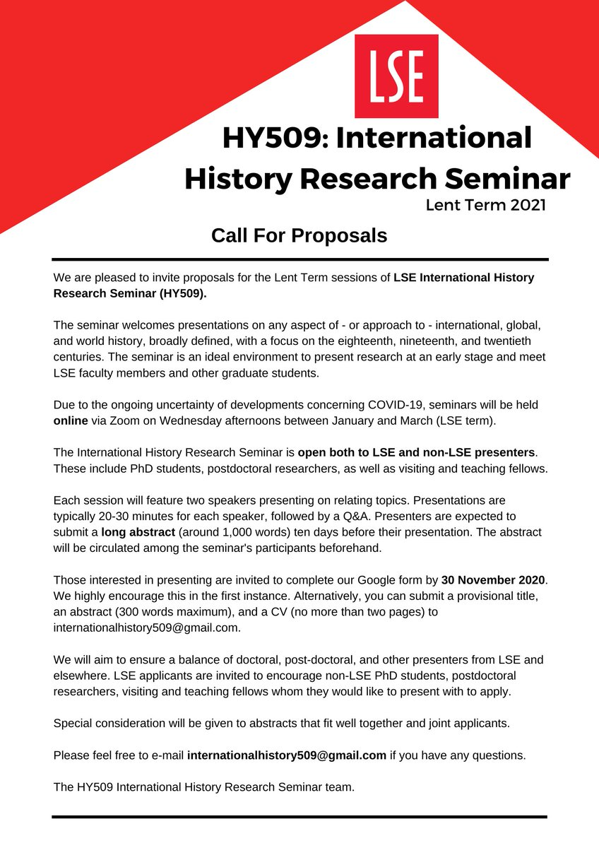 We are pleased to announce Lent 2021 CFP for the @LSEHY509 Intl History Research Seminar! Consider applying if your work covers international/global/world history from 18th-20th c.! All seminars held via Zoom. Deadline 30 Nov. Apply using Google Doc: bit.ly/3jQuBgj