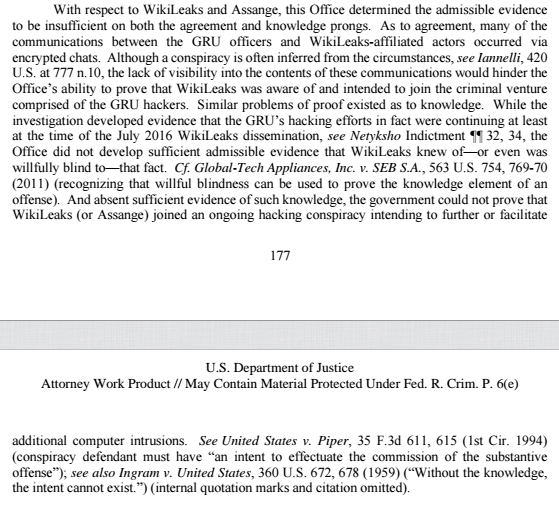 Officials release newly-unredacted portion of the Mueller report just before election: With respect to Wikileaks and Assange, this Office determined the admissible evidence to be insufficient on both the agreement and knowledge prongs.