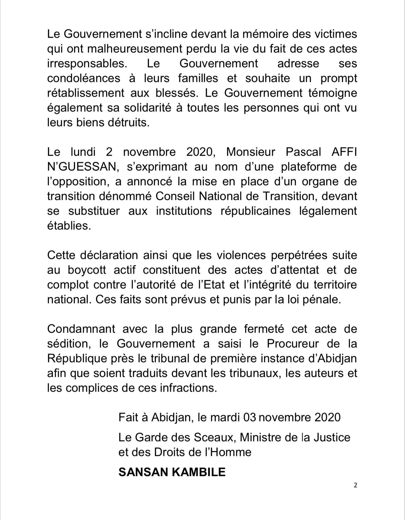 Presidenceci On Twitter Communique Du Gouvernement Sur La Situation Socio Politique