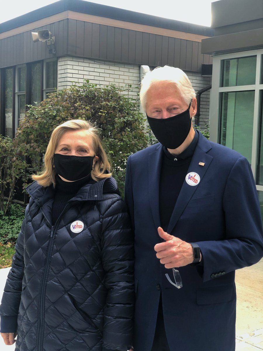 Hillary and I just proudly cast our ballots for Joe Biden and Kamala Harris. They will work tirelessly to heal our divisions and build a better future for all of us. If you haven't done so already, vote today!