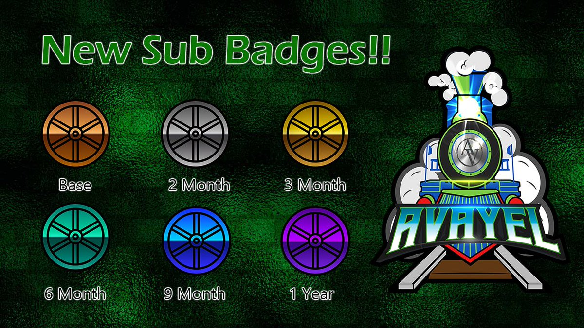 SUB BADGES ARE LIVE!! Many thanks to @PlaysRobinson for assisting me in getting there beauties set up! I love them 😍🚂 Hope you all enjoy showing them off too! See you tonight!   #TwitchStreamers #stream #streamer #loyalty #badges #games #gamer #twitchtv #twitchaffiliate
