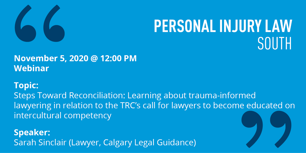 On Thursday, Sarah Sinclair of the Sahwoo mohkaak tsi ma taas (Before Being Judged) Indigenous Justice program at @CalgaryLegal presents to the south Personal Injury Law Section about trauma-informed lawyering in relation to the TRCs Calls to Action. cbapd.org/details_en.asp…