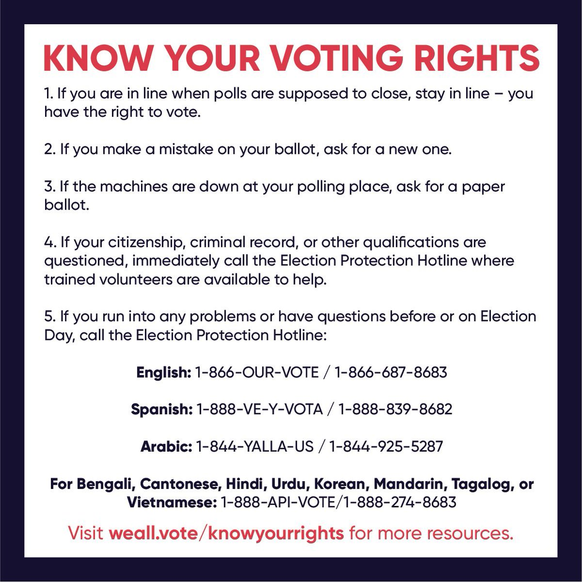 Know your rights before go to the polls today!! @WhenWeAllVote and @866OURVOTE are here to help. Let's do this!!! ✊🏾 #VOTE