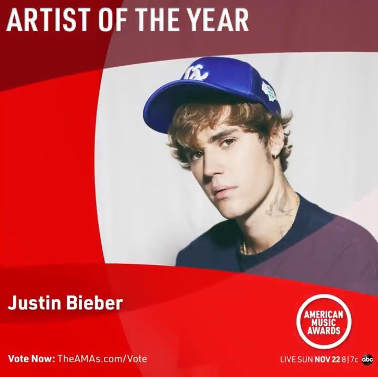 I'm voting for Justin Bieber for Artist of the Year at the #AMAs! RT & reply to vote too! Be sure to also vote on the website to get the maximum number of votes possible each day! Let's do this! https://t.co/PLy0IrBfPj https://t.co/gFnW00Fi2y