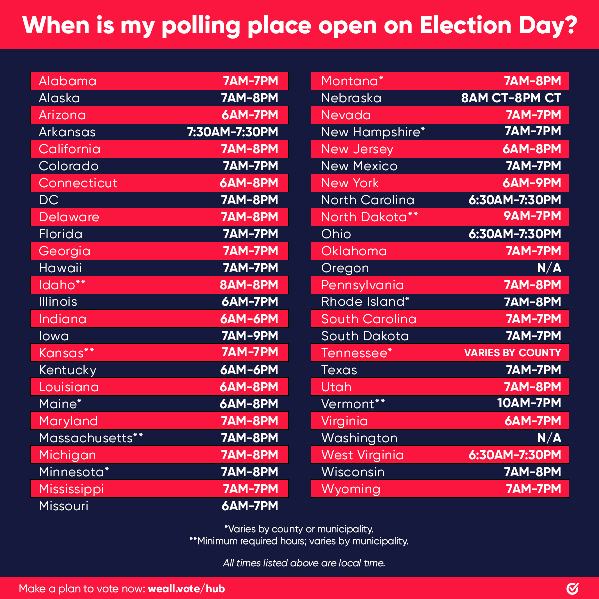 The clock is ticking ⏰   Find your polling place and hours this #ElectionDay at