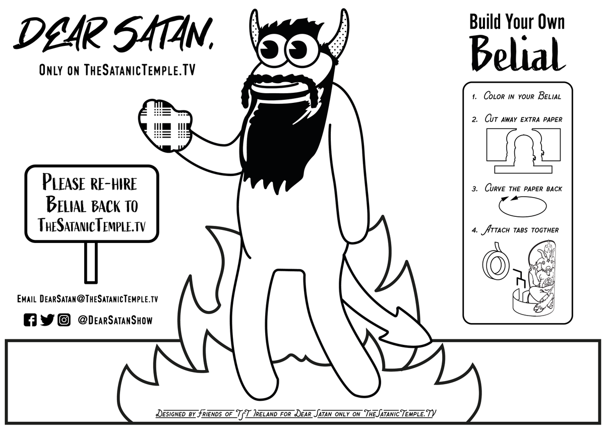 Hey everybody!  You all saw how pathetic Beelzebub did at TV production, help me get re-hired on the @DearSatanShow!  Tell @SatanicTv to bring me back!  And enjoy this cool thing Friends of TST Ireland made for me!