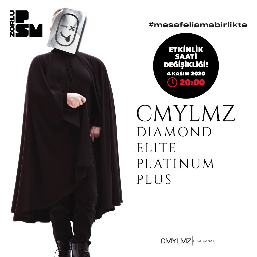 COVID-19 tedbirleri kapsamında alınan yeni karar doğrultusunda, 4 Kasım 2020 Çarşamba akşamı gerçekleşecek CMYLMZ Diamond Elite Platinum Plus etkinliğinin başlangıç saati 20:00 olarak güncellenmiştir. @CMYLMZ
