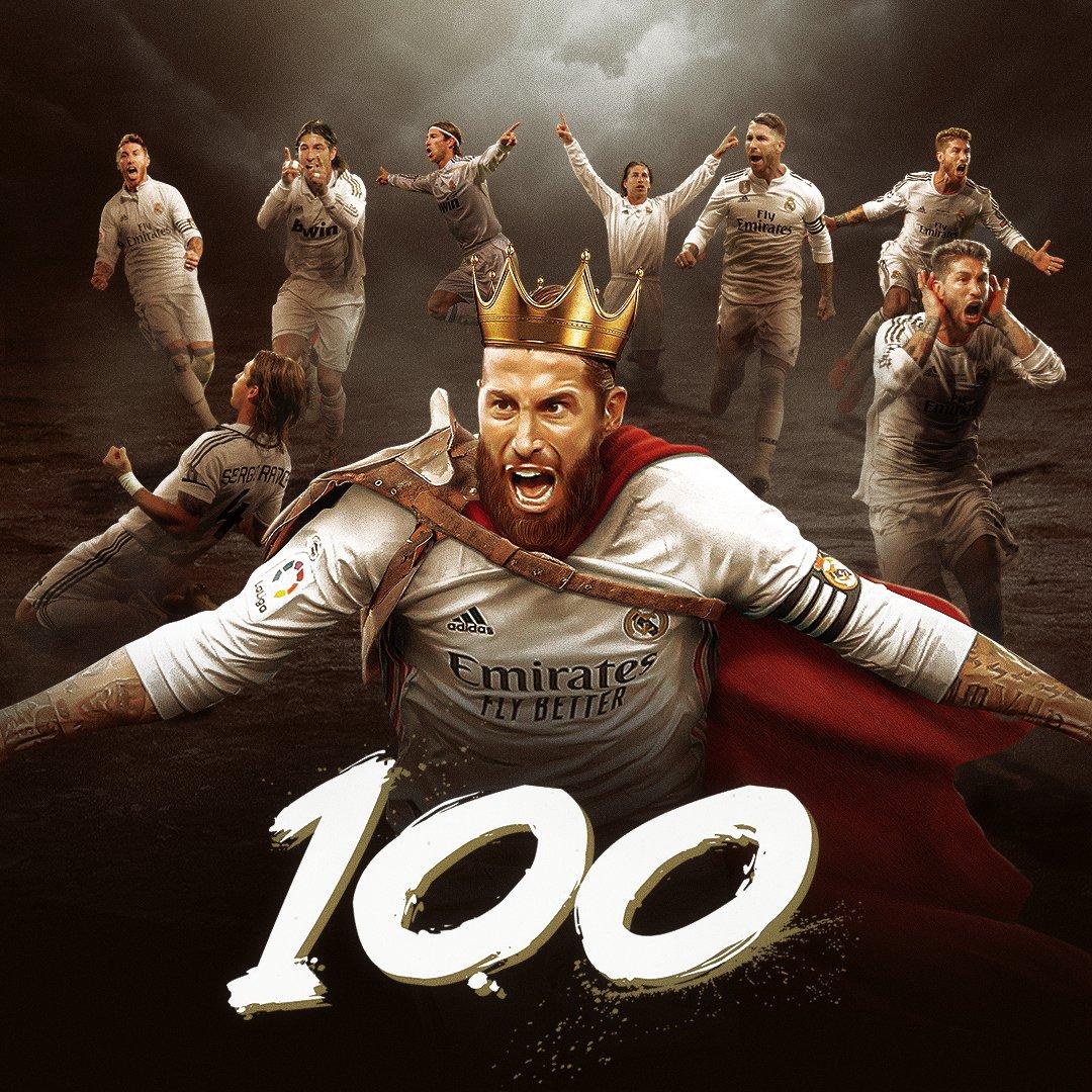 ©️⚽💯 ¡El capitán, @SergioRamos, alcanza la cifra de 1️⃣0️⃣0️⃣ goles con la camiseta del @RealMadrid! #RealFootball | #HalaMadrid