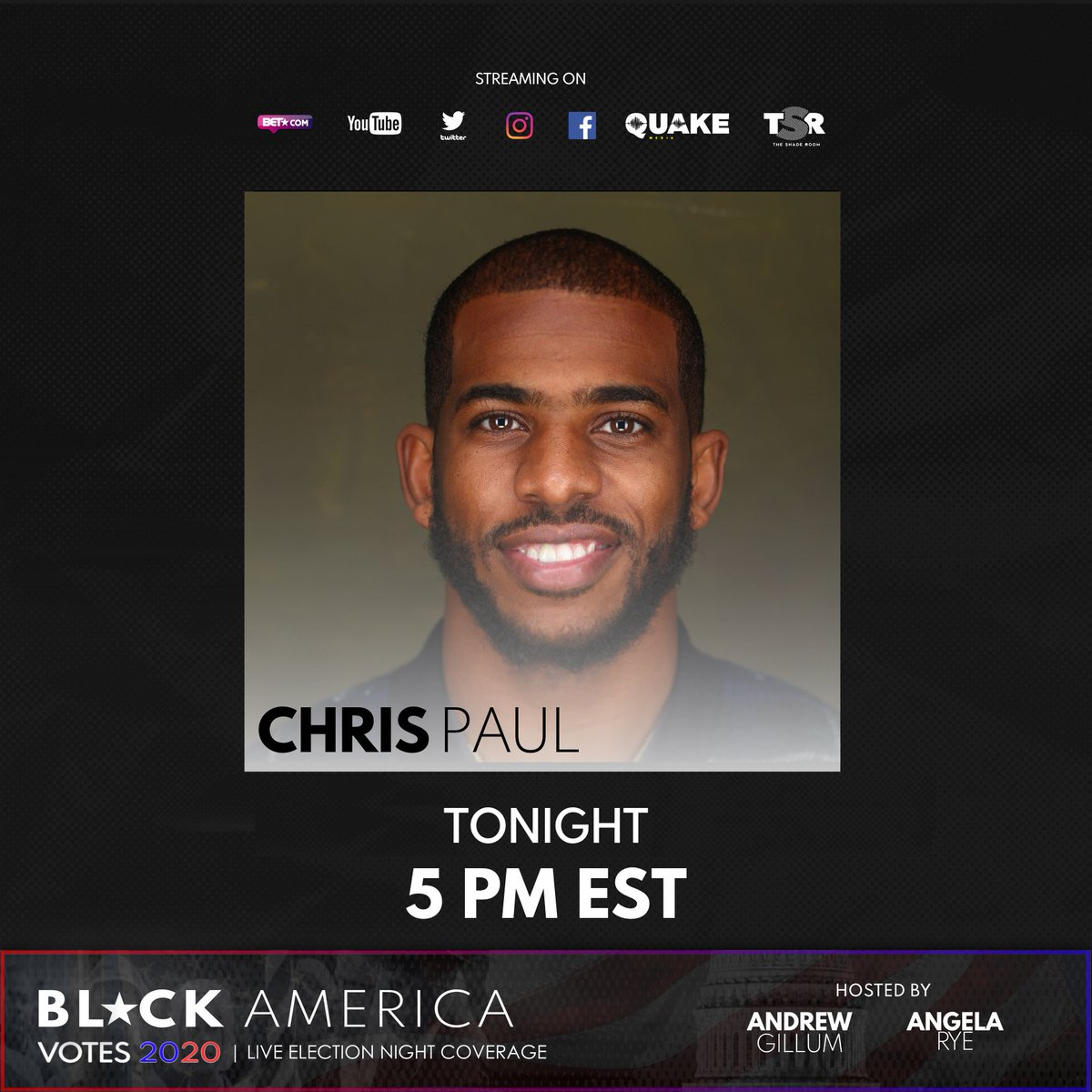 About to jump on with @angela_rye and @AndrewGillum on #BlackAmericaVotes2020, the largest Black-centric election night coverage special in media history. Meet me there!
