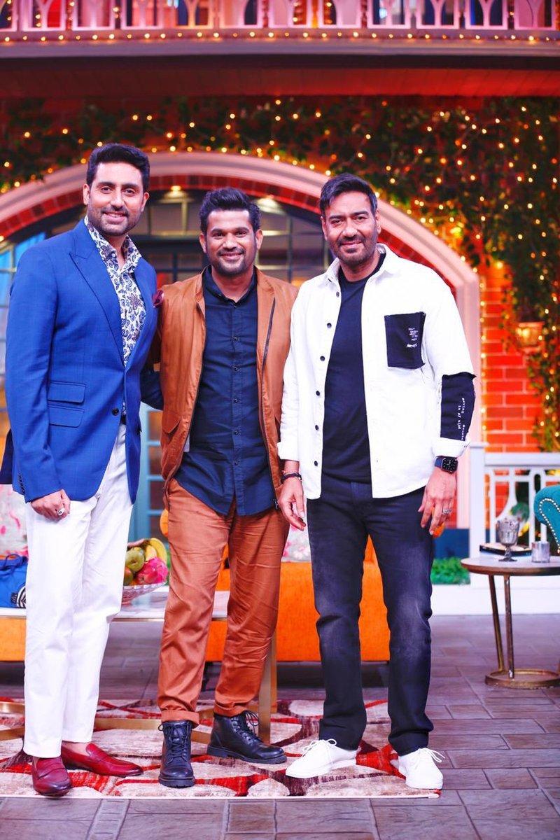 #AjayDevgn, #AbhishekBachchan and #SohumShah kickstart promotions for #TheBigBull on #TKSS.