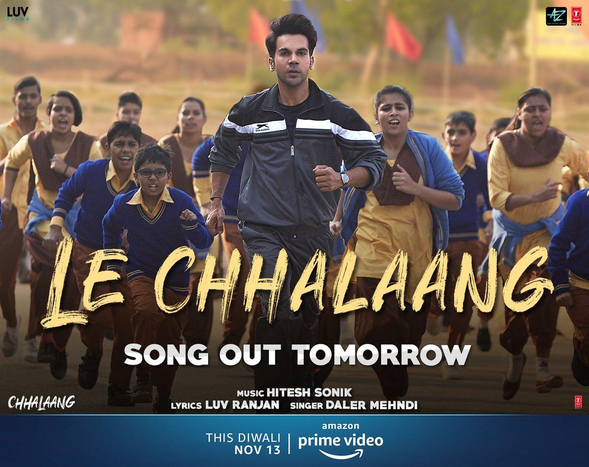 Brace up to feel the adrenaline with #LeChhalaang. Song out tomorrow!  @RajkummarRao @Nushrratt @mehtahansal @Hiteshsonik @dalermehndi #HowardRosemeyer  @luv_ranjan @gargankur #BhushanKumar @PrimeVideoIN @ADFFilms @LuvFilms @TSeries @ChhalaangFilm #ChhalaangOnPrime