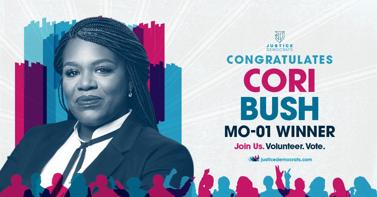 Its official. The first-ever recruited Justice Democrat candidate @CoriBush is going to Congress. Six years ago police officers maced Cori in Ferguson as she helped spark a global movement. Three months from now she'll be holding police accountable as a member of Congress.