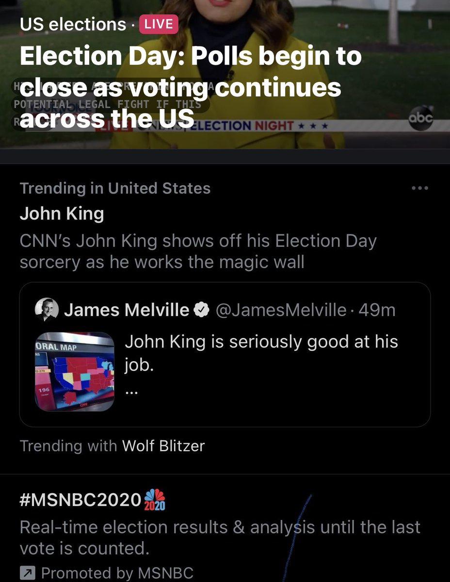 I'm trending in the USA! #ElectionNight @JohnKingCNN