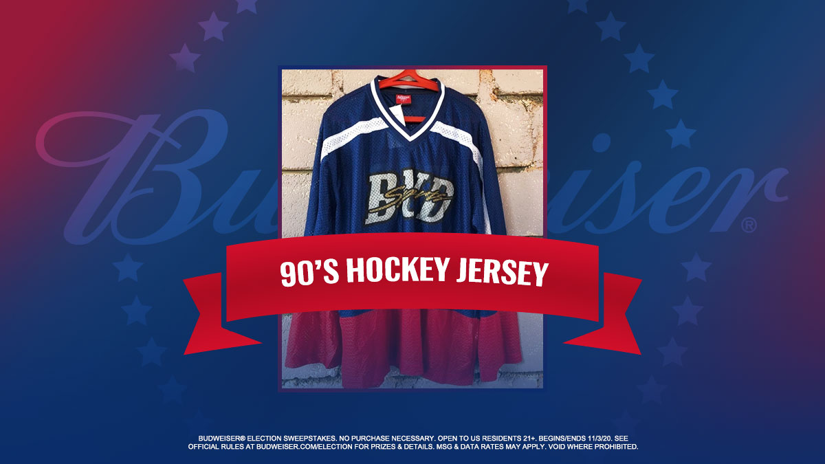 And now for our grand finale. In honor of you, America, let's do a cheers. All you have to do is reply with 🍻 using #VintageBudForVotes #sweepstakes for a chance to win this 90s hockey jersey. Great job today, everyone!