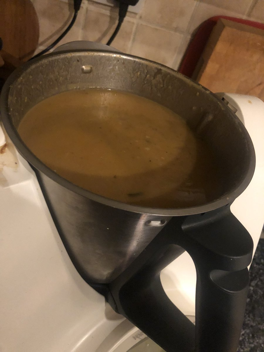 While Georgia tips hither and thither in the balance I make an excellent winter root soup in the Thermo #longnight #firstfrost