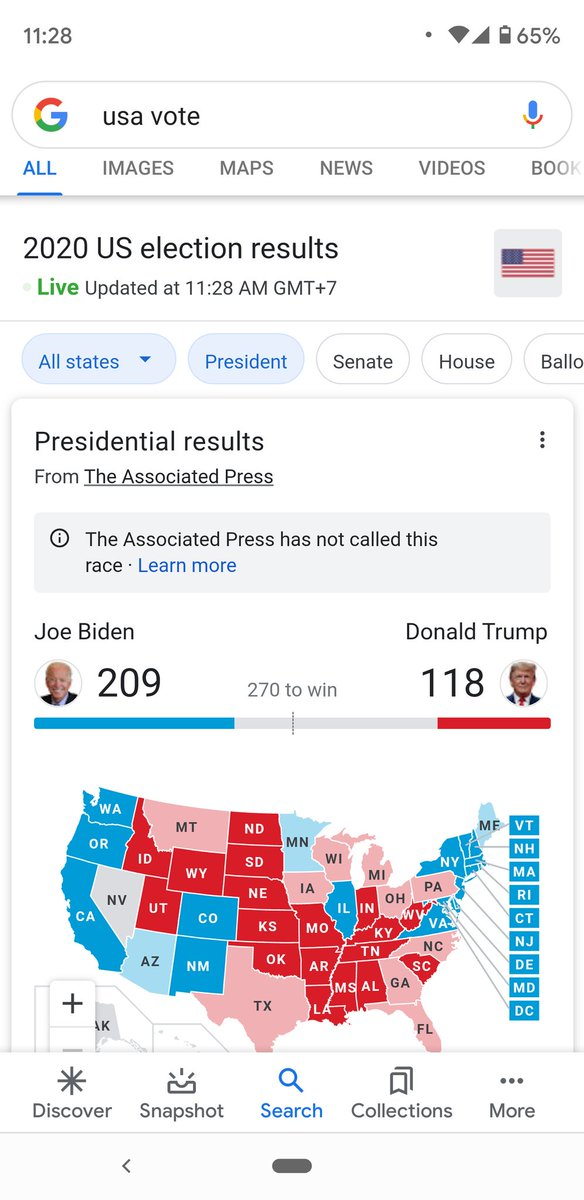 #Election2020 results (11:28 AM Cambodia Time).  @JoeBiden 🆚 @realDonaldTrump   ℹ️ Screenshot from Google Search https://t.co/Cykrj6mjk5