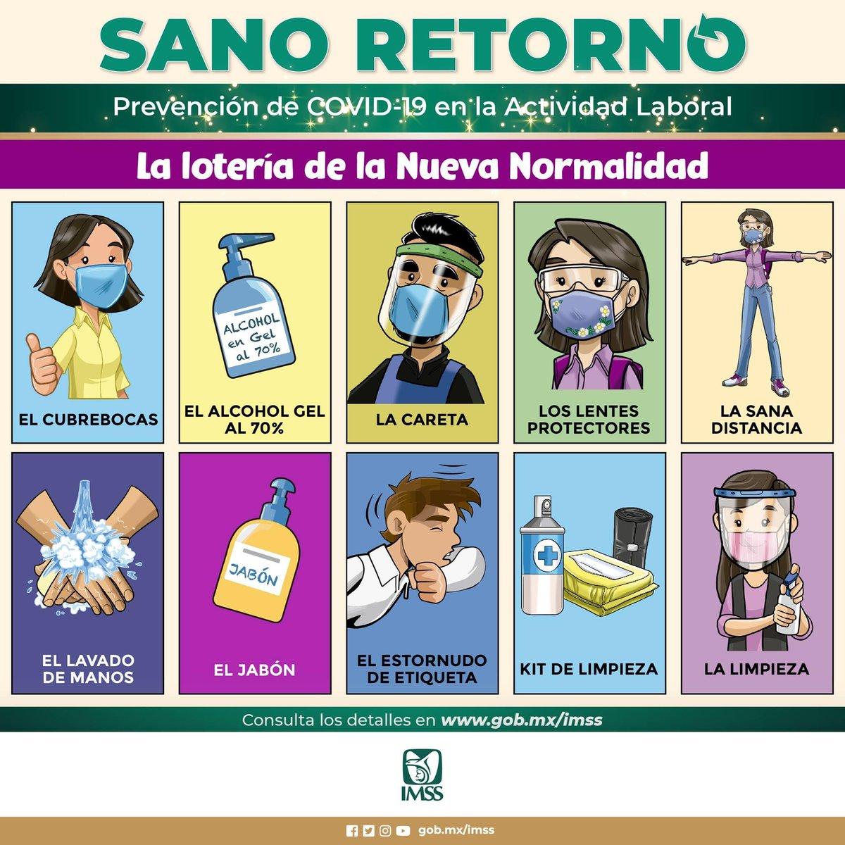 ¡El alcohol gel! 🧴 ¡La sana distancia! ↔️ ¡El cubrebocas! 😷 ¡El lavado de manos! 💦🤝🧼  ¡LOTERÍA!   #SanoRetorno #NuevaNormalidad https://t.co/yplGiFsNgf