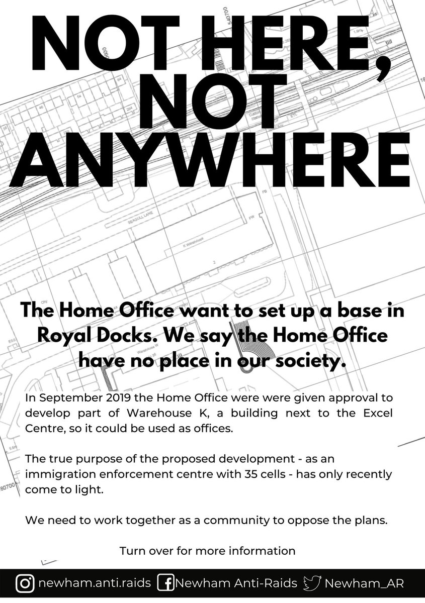 Weve produced a leaflet about the Home Offices plans for Royal Docks, what happens at an immigration enforcement centre and why we need to resist. Get in touch if youd like to support getting the word out! #OpposeWarehouseK