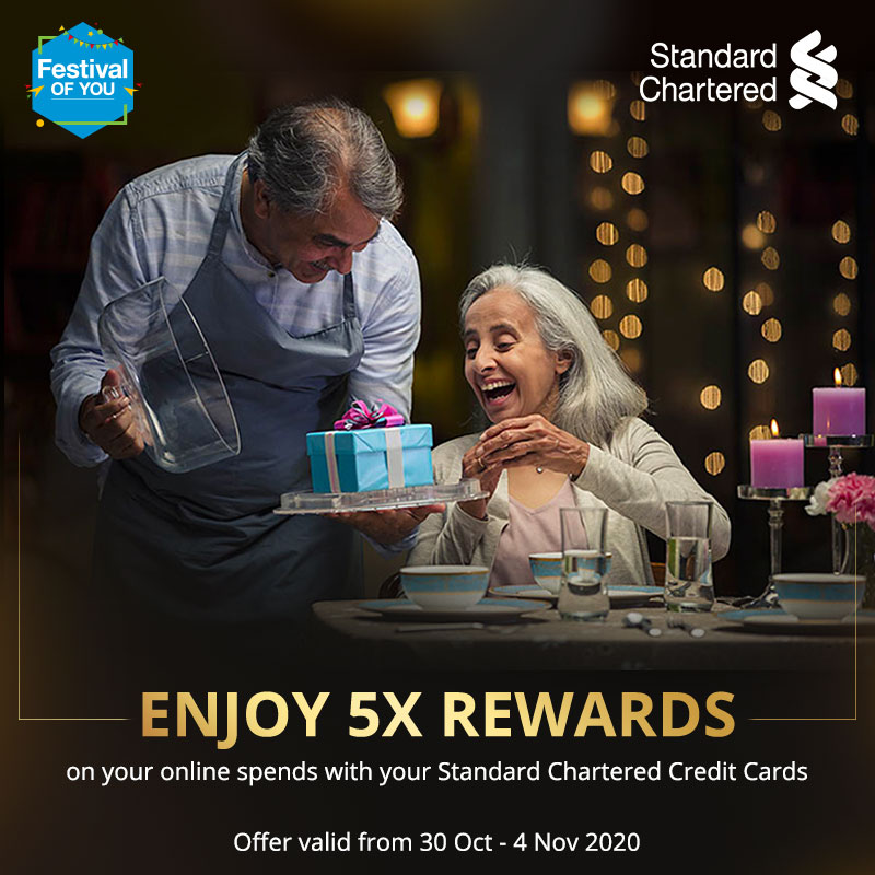 This festive season surprise your loved ones with something special. Enjoy 5X rewards on all online spends with Standard Chartered credit cards.  Offer valid from 30 Oct - 4 Nov 2020. To know more click   #FestivalOfYou #Festiveseason #StandardChartered