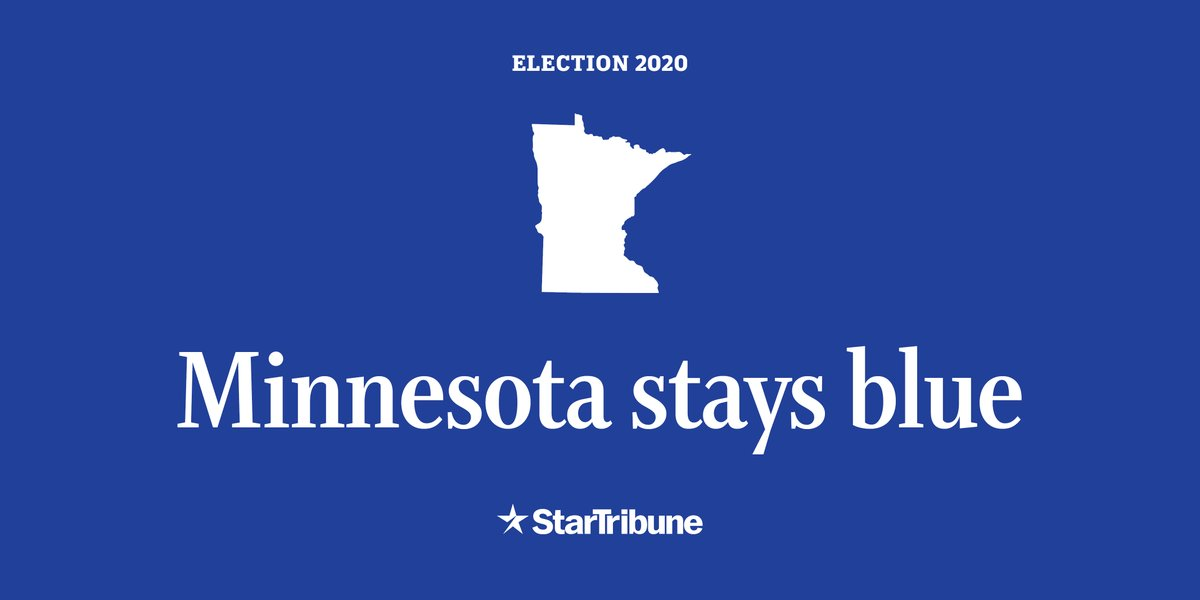 @AP_Politics #BREAKING: Minnesota stays blue, with Joe Biden winning state's presidential vote despite swing-state hopes of GOP. https://t.co/IebTSk1LI9 https://t.co/lTprtpANqQ