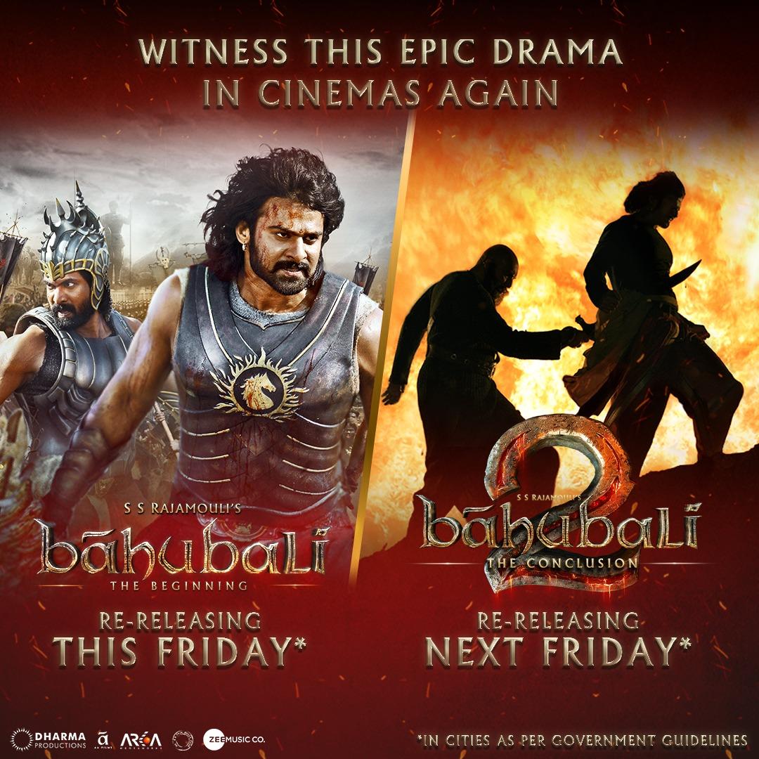 Experience the thrill & grandeur once again! #BaahubaliTheBeginning and #Baahubali2 - The Conclusion, re-releasing soon.  #Prabhas @RanaDaggubati @ssrajamouli @karanjohar @Shobu_  #PrasadDevineni @DharmaMovies @AAFilmsIndia @arkamediaworks @zeemusiccompany @BaahubaliMovie