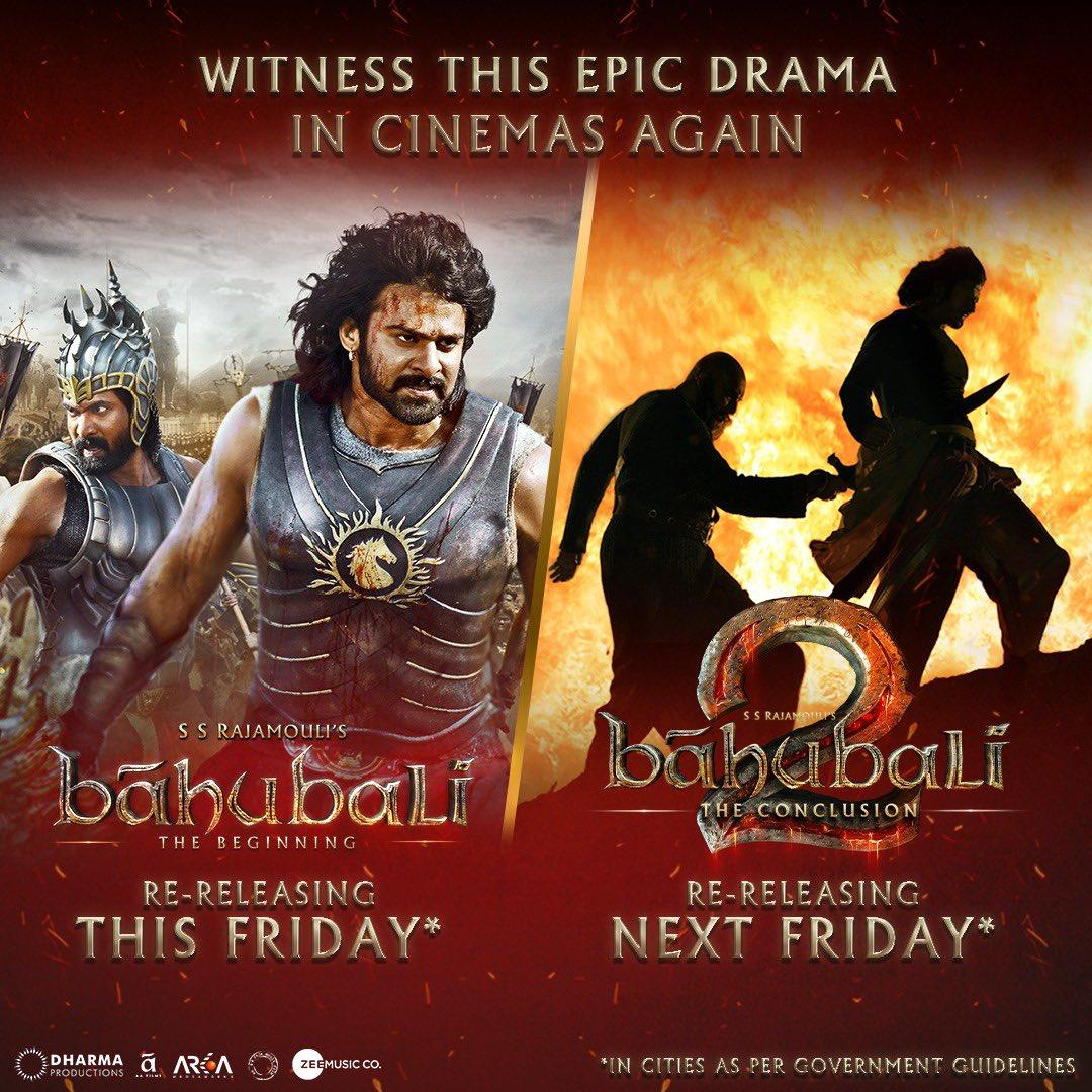 The magic is set to unravel again! #BaahubaliTheBeginning and #Baahubali2 - The Conclusion, re-releasing soon.🕺💥  #Prabhas @RanaDaggubati @ssrajamouli @apoorvamehta18 @Shobu_  #PrasadDevineni @DharmaMovies @AAFilmsIndia @arkamediaworks @zeemusiccompany @BaahubaliMovie