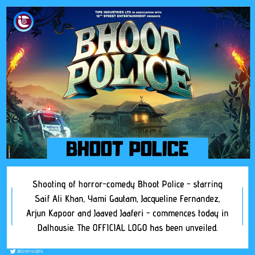 Official Logo Unveiled!!!  As shooting of @RameshTaurani - @PuriAkshai 's horror-comedy #BhootPolice - starring #SaifAliKhan, @yamigautam, @Asli_Jacqueline, @arjunk26, @jaavedjaaferi commences today in #Dalhousie. Directed by #PavanKirpalani, it will have a 2021 release.