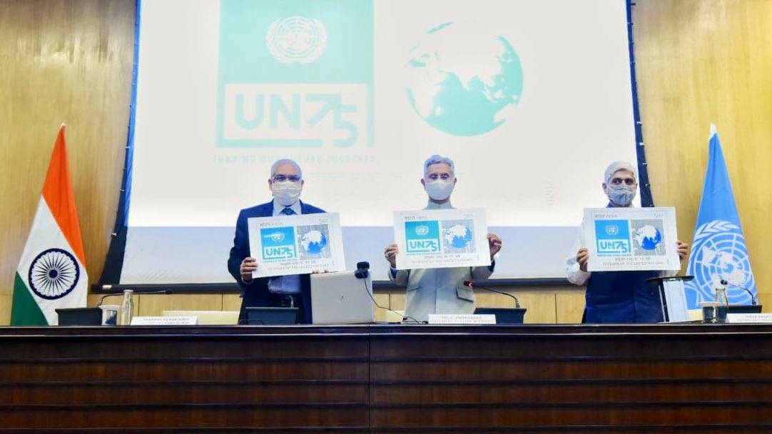 Welcome the initiative by @IndiaPostOffice to release commemorative postage stamp today on #UN75 at the eve of its founding day. As we look forward to our 8th term at UNSC, we recommit to work together to make this, one United Nations, the best possible @UN there can be.