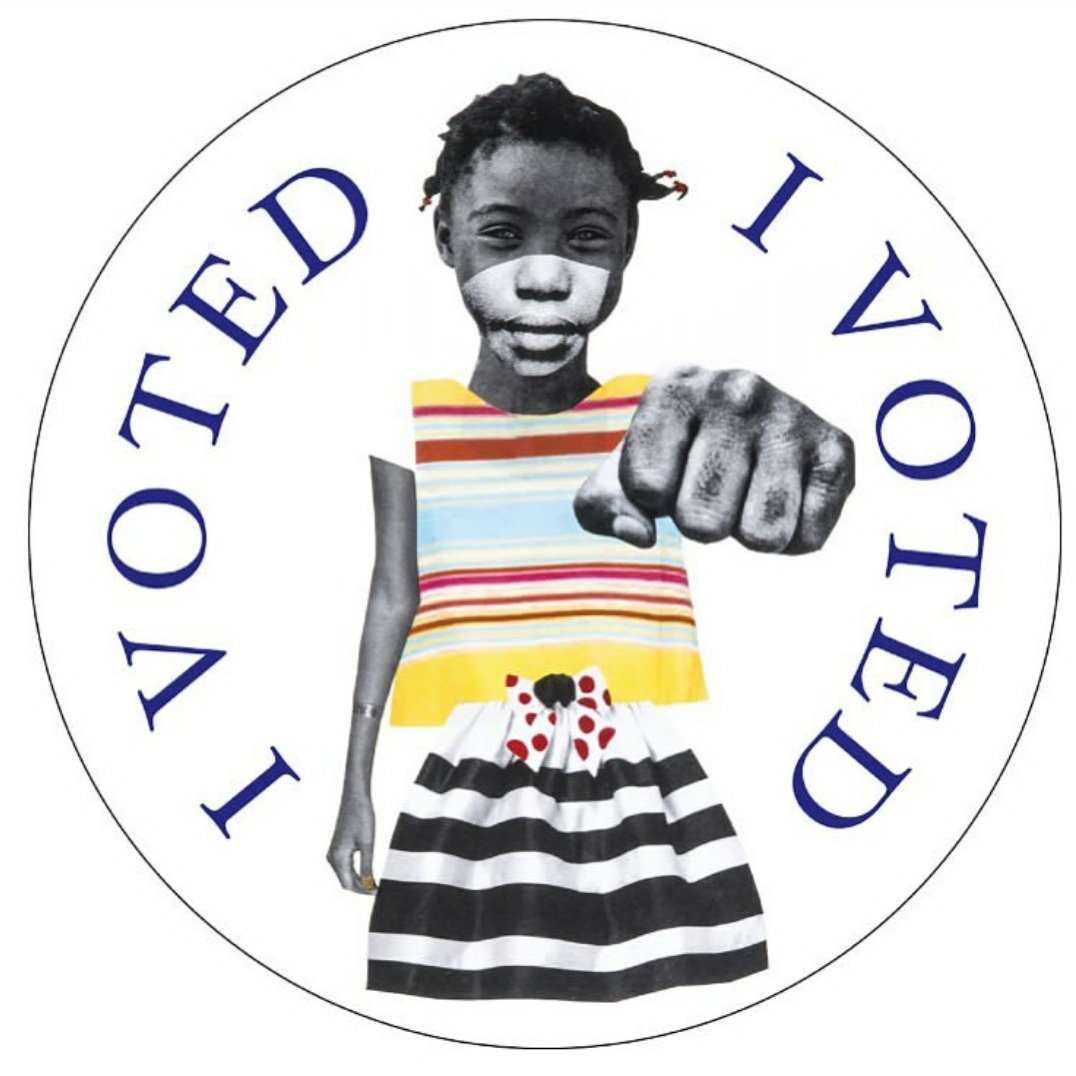 """Deborah Roberts and 47 other other artists reimagine the 'I Voted' Sticker to acknowledge those voting by mail this year and to promote """"creating a cultural shift around voting and civic engagement."""" https://t.co/WbclCWq4w2 https://t.co/CO6M4lKmEk"""