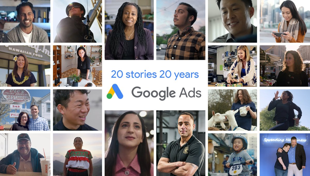 """Happy birthday, Google Ads! 20 years ago, AdWords was first introduced to """"make it easy for anyone—even those who have little or no online advertising experience"""" to promote their business online. 20 years later, your stories continue to inspire the industry! #20stories20years"""