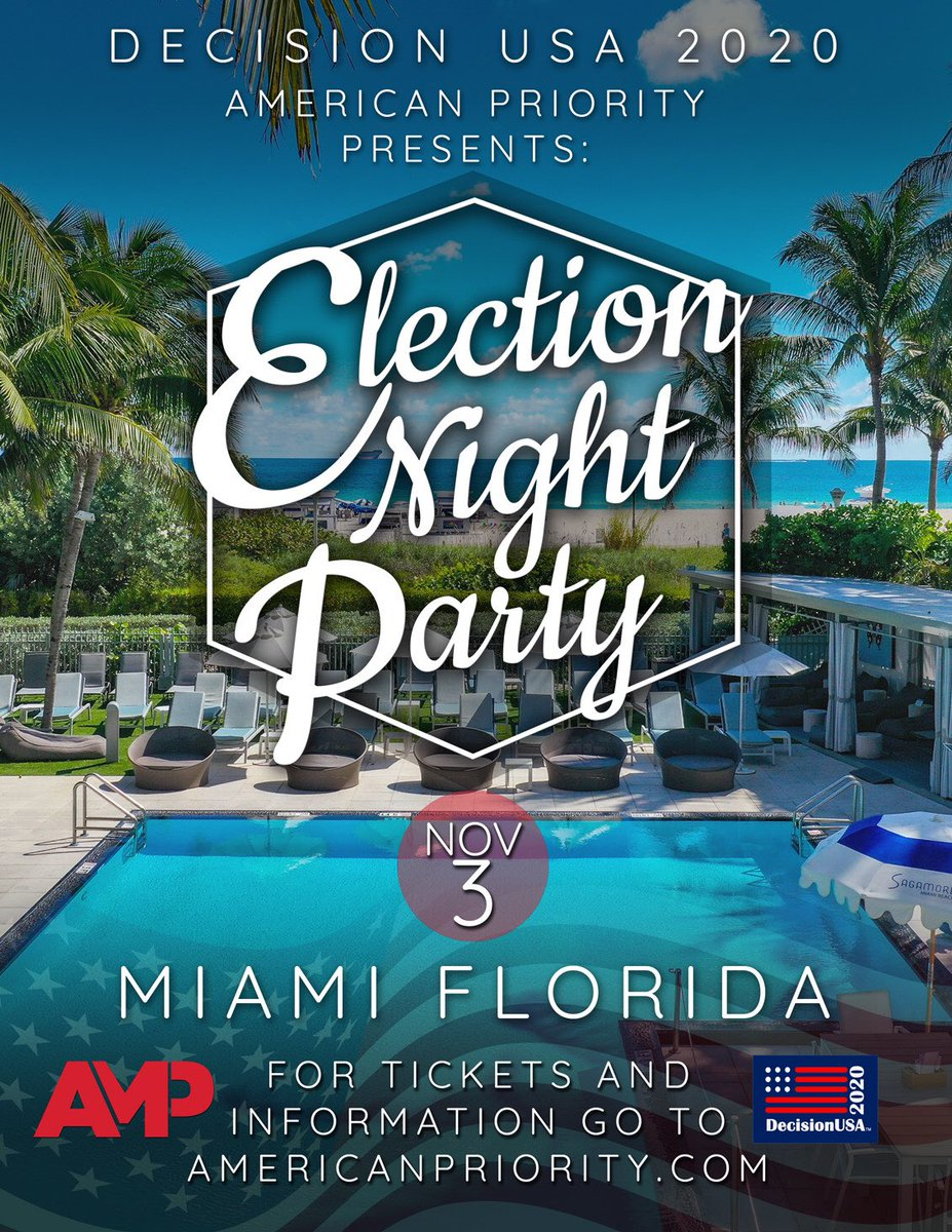 Get your tickets now for AMP election night party Miami 🎊🎉🎈🇺🇸 Guest correspondent @Annakhait 👇🏻👇🏻👇🏻 Americanpriority.com
