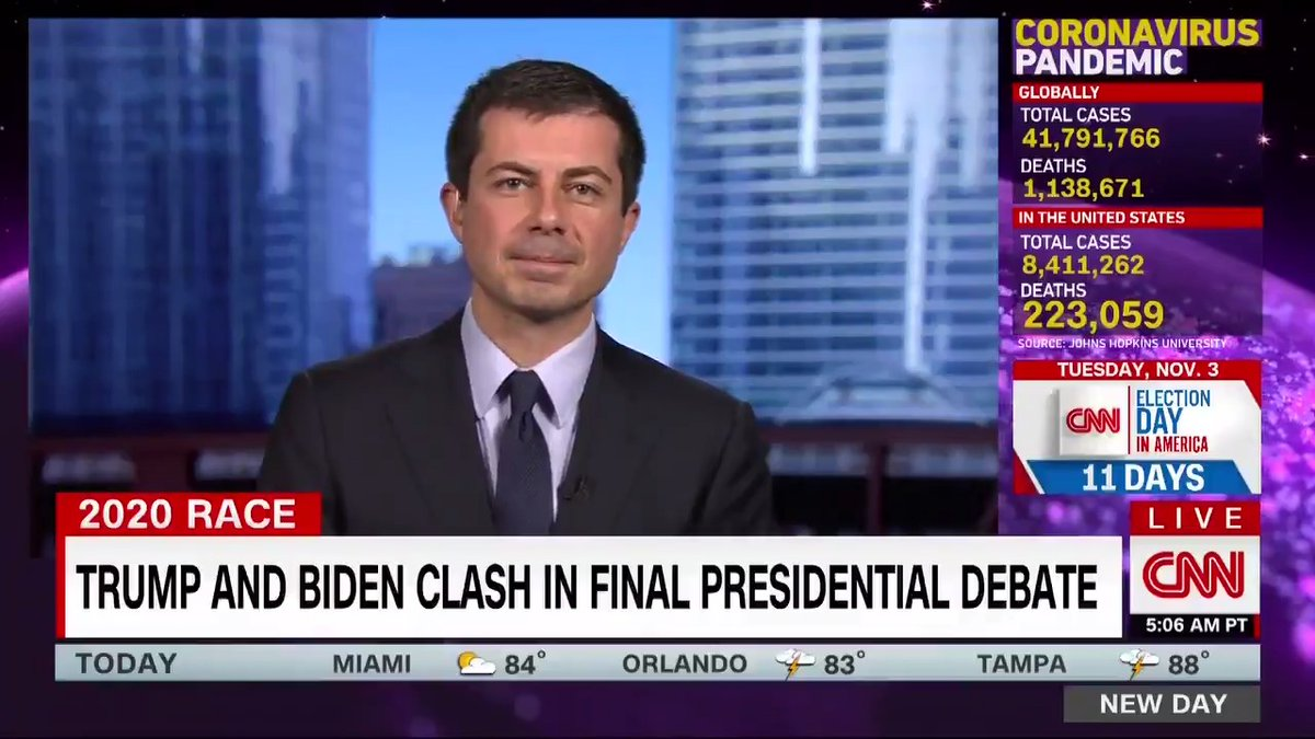 """""""I think he stated a simple and important truth, which is that America, in order to continue job growth and in order for there to be a future, needs to move to a renewable energy economy,"""" @PeteButtigieg says about Biden's statements on the oil industry. cnn.it/31xyNeQ"""