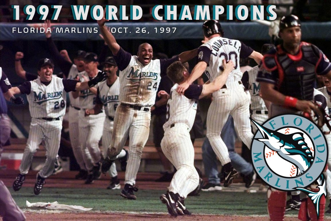 #OTD in 1997, The unlikely World Champions became the Florida #Marlins, defeating the Cleveland #Indians in 11th inning of the 7th game. Unlikely because the team was only in its fourth year of existence. The Series MVP was Liván Hernández. https://t.co/ZuukiI6xNN