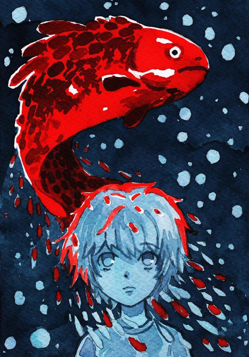 .#Inktober. #Fish by Noire-Ighaan - https://t.co/NbQNMX50X6 via @insprade #inspirationde #Art #Illustration #Red #Vesper https://t.co/6hLMt436Hw