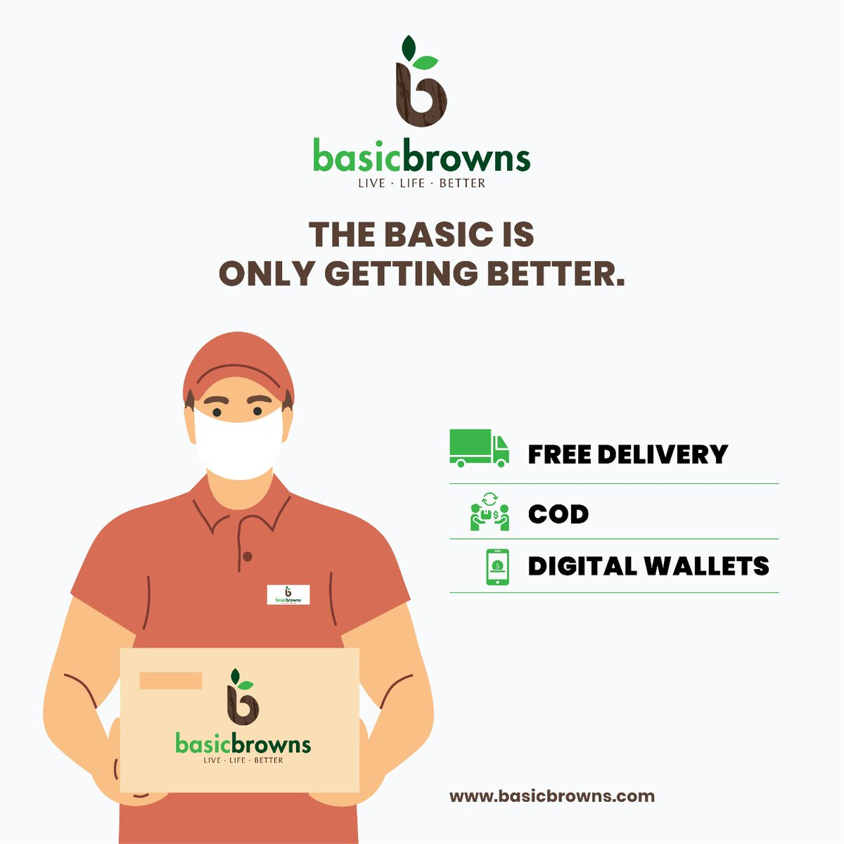 We are now starting with free delivery and are present on all digital wallet platforms. Now the change to a healthier lifestyle is easier than ever.  https://t.co/mOweDKhD4N  #basicbrowns #livelifebetter #forabettertomorrow #organicfood #organiclifestyle #sustainableliving https://t.co/dK3GPPEwJG