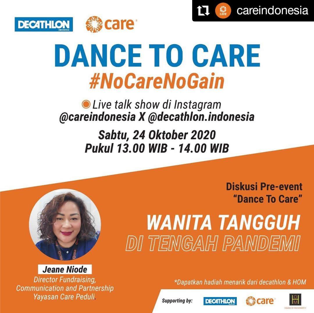 #KabarAnggota #Repost CARE Indonesia • • • • • • Ikuti IG Live kami bersama @DecathlonID, BESOK pukul 1 siang!  Membahas mengenai bagaimana COVID-19 memberi dampak lebih terhadap perempuan, dan apa yang kamu bisa lakukan untuk ikut mendukung mereka.   #CAREIndonesia https://t.co/OcOl9w5BiK