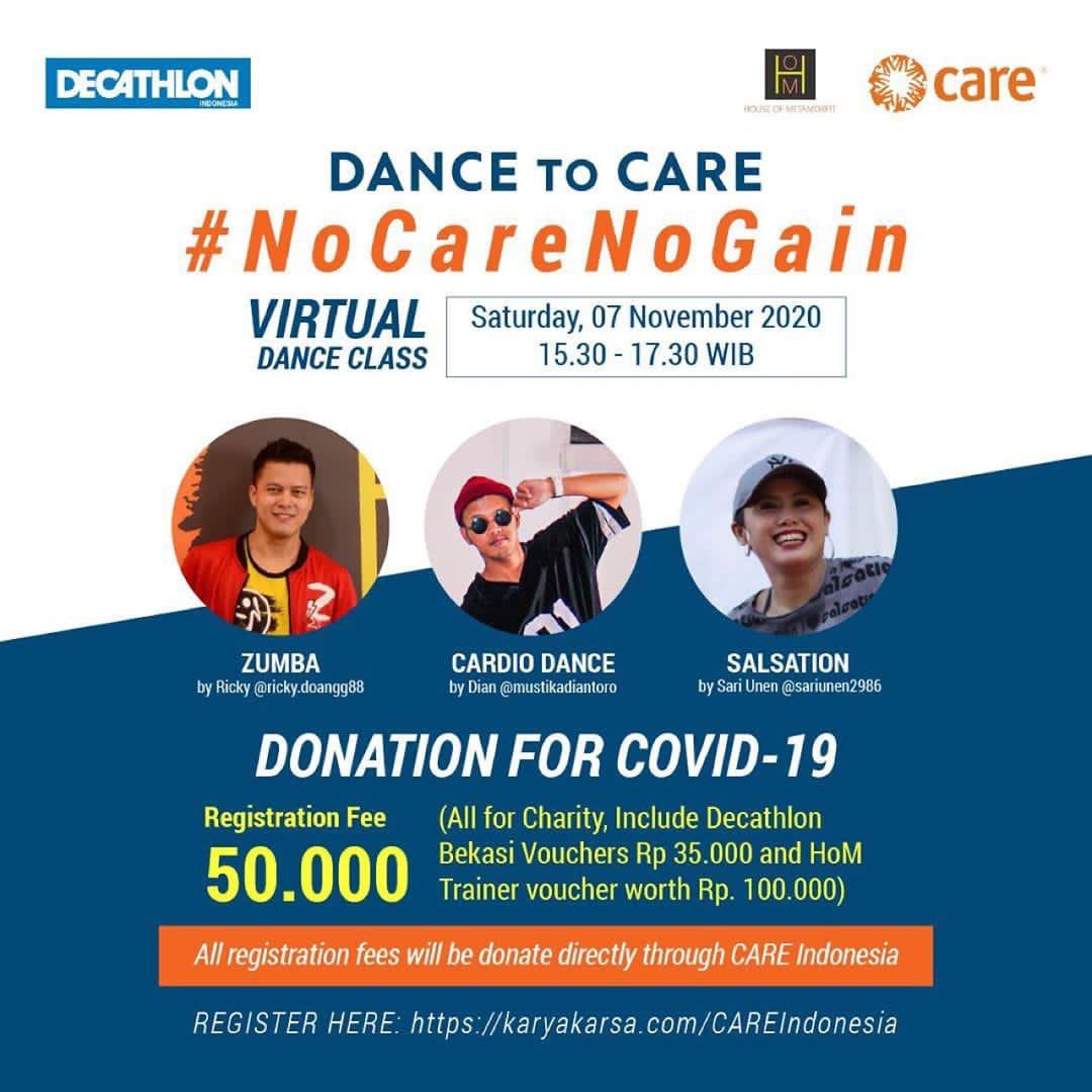 Melalui acara #DancetoCARE, CARE Indonesia berkolaborasi bersama @DecathlonID & House of Metamorfit untuk membantu wanita Indonesia agar tetap tangguh di era pandemi.   Daftarkan di https://t.co/cjFc76YHmW  #TangguhituKita #houseofmetamorfit #FilantropiIndonesia https://t.co/IIlBG5jbVS