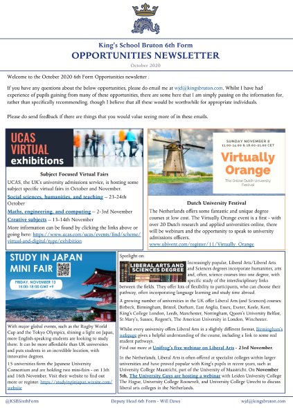 The latest @KingsBruton 6th Form Opportunities Newsletter is full of opportunities for pupils to explore their future options. Spotlights this month on Liberal Arts courses, @WeberStateU, #healthcare #apprenticeships, #Dutch  and #Japanese uni fairs, @InvestIN_Ed, @ucas_online https://t.co/UiTyjQzdoJ