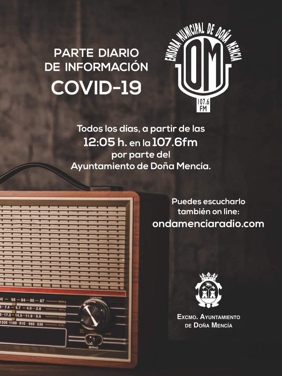 PARTE DIARIO EN RADIO | 📣 En Onda Mencía Radio todos los días, mientras dure este periodo de incremento de casos #Covid_19, #información por parte del Ayuntamiento de Doña Mencía, a partir de las 12:05 h. en la 107.6fm, y también en 👉  https://t.co/4kufk8OaWi https://t.co/lsF32qIaU1