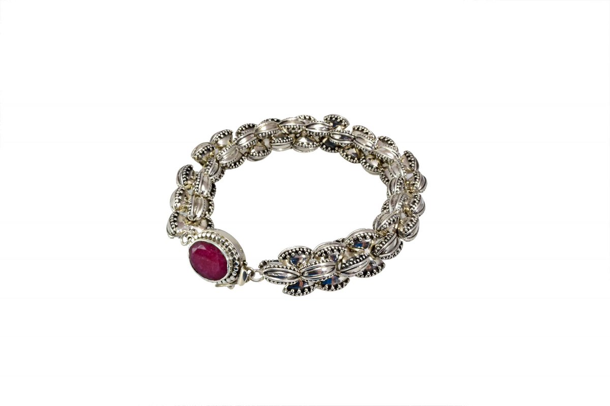 """Awesome bracelet created from sterling silver """"bow"""" beads held together with a box clasp that is highlighted with a bezel set ruby!  #designerjewelry #artisanjewelry #ooak #contemporaryjewelry #finejewelrydesign #sterlingsilver #bracelets https://t.co/olnQoWD0gz"""