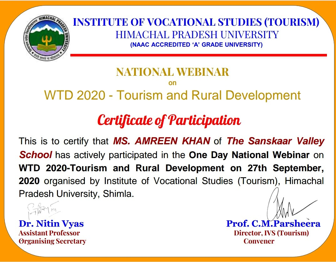 #NATIONALLEVELWEBINAR #WTD2020 #TOURISM #RURALDEVELOPMENT #CERTIFICATEOFPARTICIPATION #ACTIVEPARTICIPATION #ONEDAYWEBINAR #VOCATIONALSTUDIES #LEARNINGNEVERSTOPS #PANDEMICLEARNING #VIRTUALLEARNING #HOMEBASEDLEARNING #REMOTELEARNING #PROFESSIONALLEARNING #EDUCATORSENGAGEMENT #HAPPY https://t.co/M12kzEIE9t