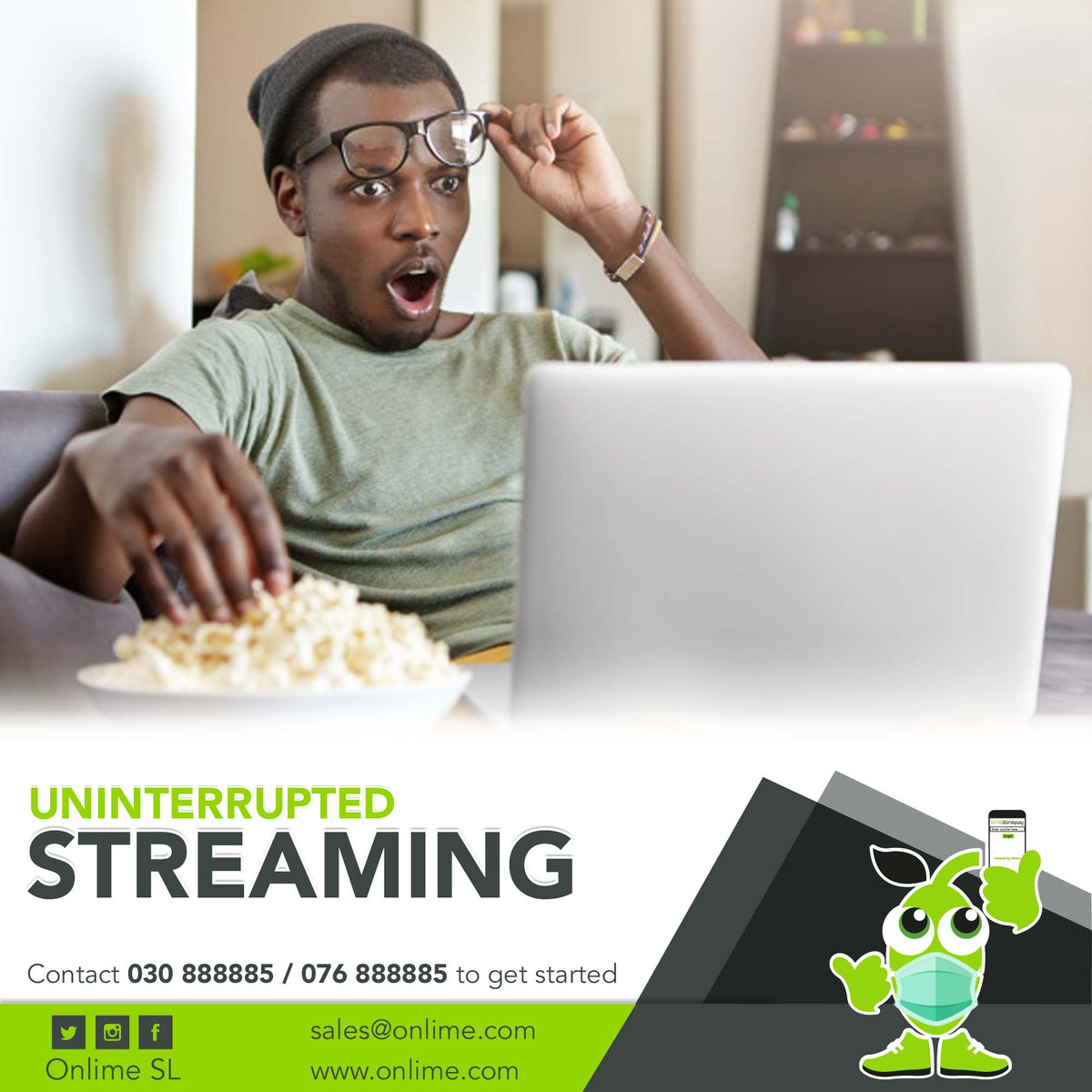 It's Fri-Yay! Don't get bored this weekend. Enjoy nonstop entertainment using #OnlimeInternet.  Call 076888885 / 030888885 to get started. #SierraLeone #Freetown #SaloneTwitter https://t.co/Sw2asfZ3ak