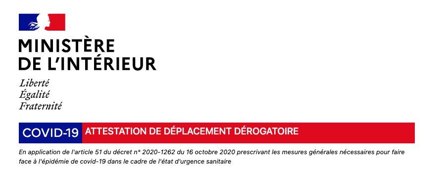 Téléchargez l'attestation dérogatoire de déplacement sur :  https://t.co/m4P38j2RXu #COVID19 #Couvrefeu https://t.co/EOBl5XF9y0