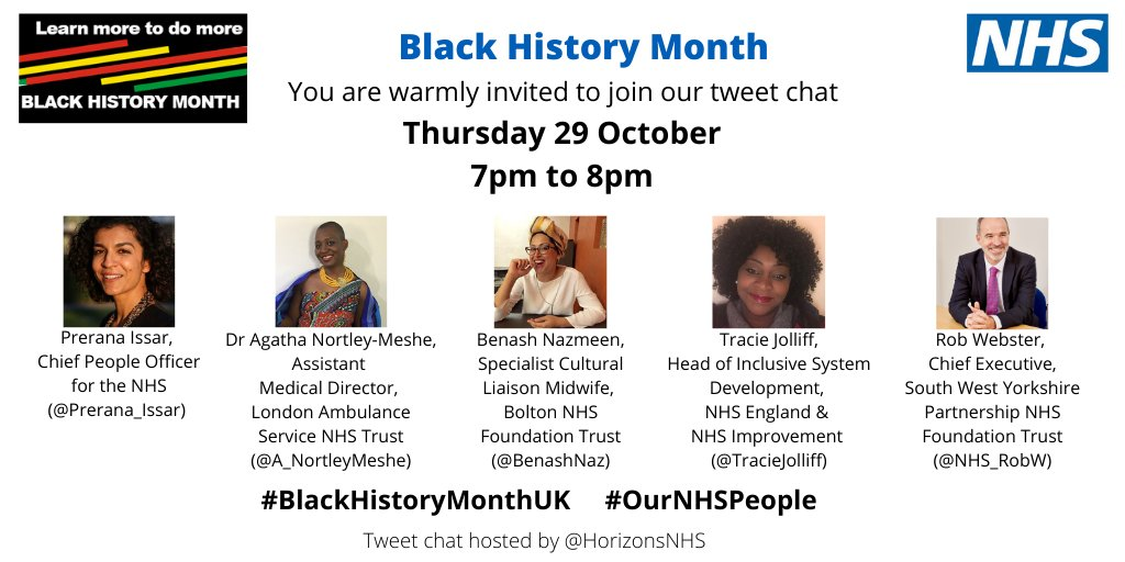 I'm really looking forward to our conversation on Thursday - please join us if you can. Everyone welcome.  #BlackHistoryMonthUK #ournhspeople #NHS https://t.co/UIZnsP5JsZ