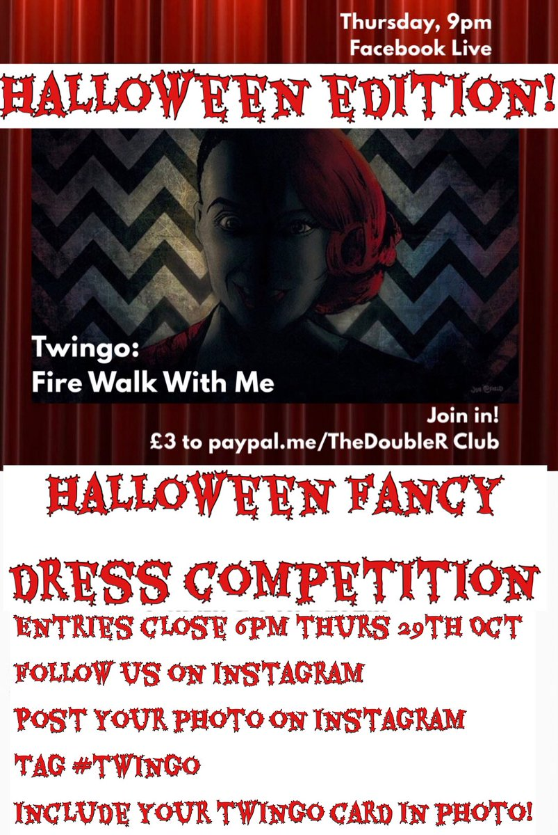 NEXT THURSDAY 👻   The Halloween edition of #TWINGO!  Fancy dress competition! Prizes! Laughter! Spookiness!  Dare YOU join us?  #StayHome #halloween #ThursdayMotivation #bingo #twinpeaks #fancydress   Original art by @jonattfieldart https://t.co/vYkYRpzzWu